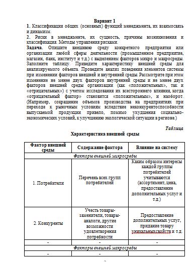 Контрольная работа функции менеджмента 2015