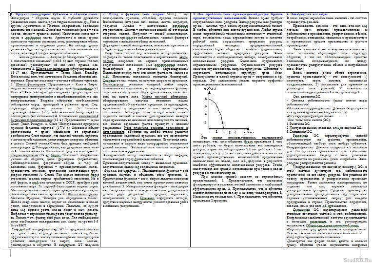 шпаргалки по экономической теории для студентов