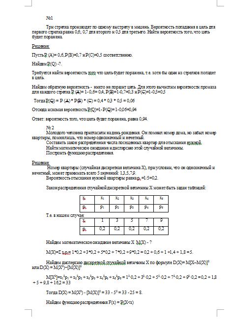 Контрольная работа по Теории вероятности Вариант Контрольные  Контрольная работа по Теории вероятности Вариант 7 20 12 15