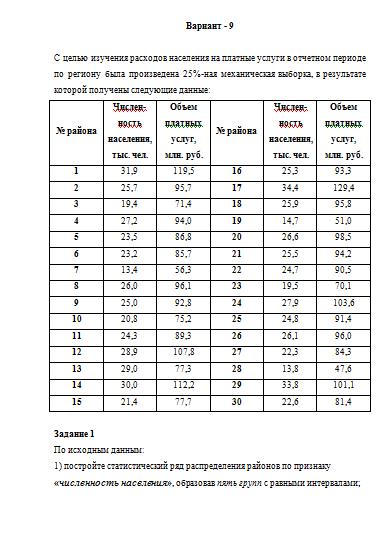Контрольная работа по Статистике Вариант задачи  Контрольная работа по Статистике Вариант 9 4 задачи 19 04 16
