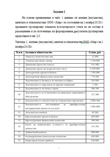 Контрольная работа по анализу финансовой отчетности вариант 1 8768