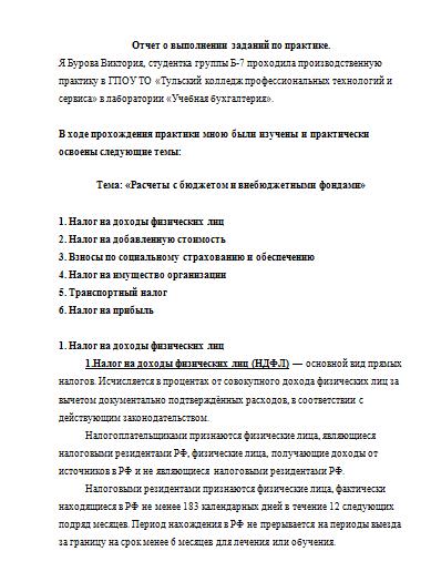 Отчет по практике ндфл 9567