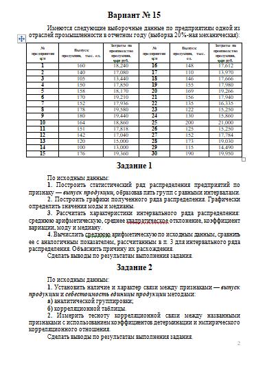 Контрольная работа по Статистике Вариант Контрольные работы  Контрольная работа по Статистике Вариант 15 28 10 10