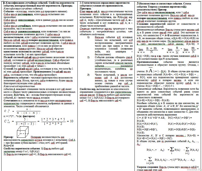 Шпаргалка математическая статистика и теория вероятности